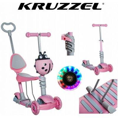 Koloběžka Kruzzel 10329 Hulajnoga růžová 5 v 1